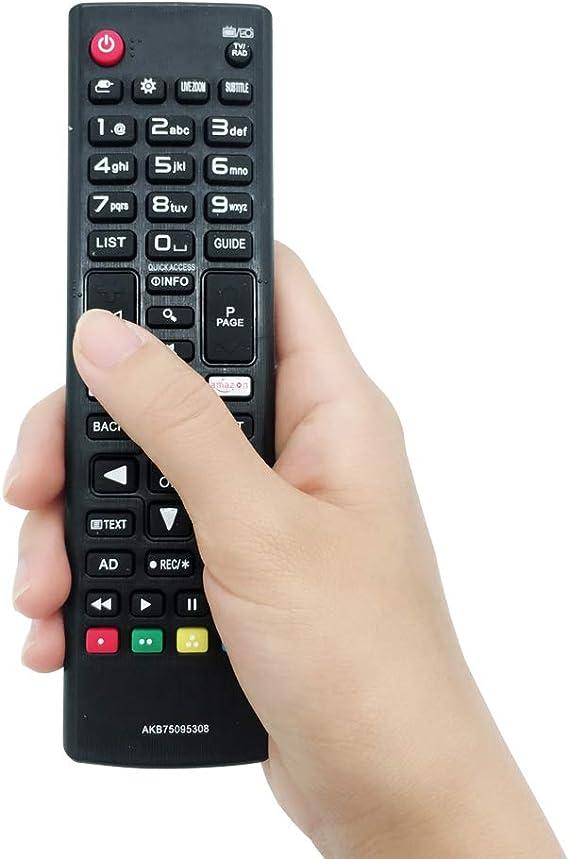 Mando a distancia de repuesto para LG TV AKB75095308 de MYHGRC, compatible con varios televisores LG Ultra HD con botones Netflix de Amazon, sin necesidad de configuración, control remoto universal para TV: