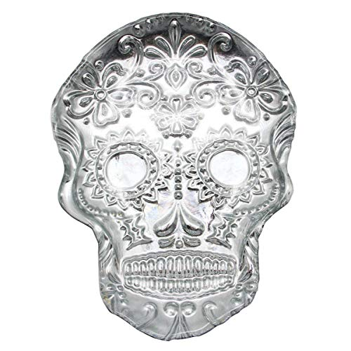 Sugar Skull Dish Glass Embossed Shallow Bowl Trinket Gold Dessert Plate Party Dishes Cake Platter Candy Dishes (silver)
