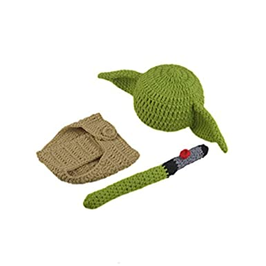 513d4dcec89 Image Unavailable. Image not available for. Color  Pinbo Newborn Baby  Crochet Photography Prop Yoda Hat Cover Diaper Costume