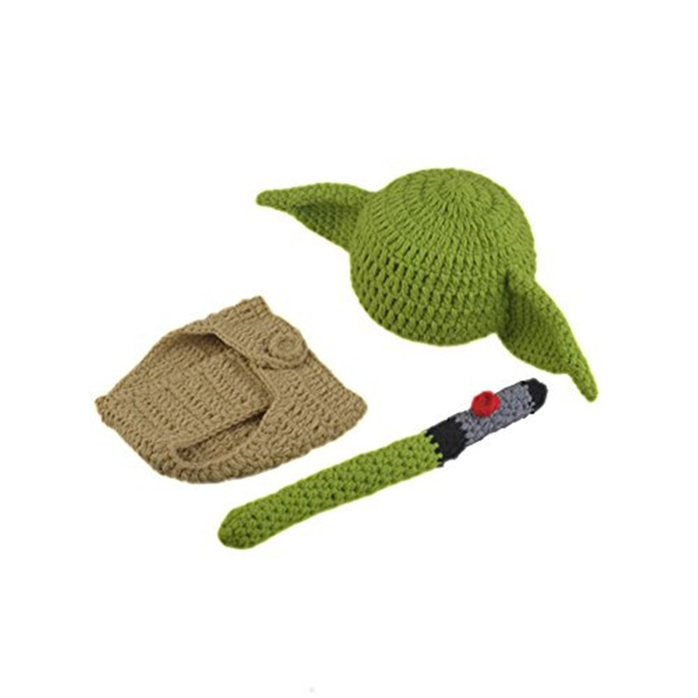 Pinbo Newborn Baby Crochet Photography Prop Yoda Hat Cover Diaper Costume