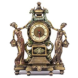 Frisby Victorian Style Clock Statue Figurine in Home Decor, Shelf, Desk Clock Sculptures Figurines and Office Gifts, Bronze Finish, 16 H
