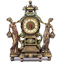 "Frisby Victorian Style Clock Statue Figurine in Home Decor, Shelf, Desk Clock Sculptures Figurines and Office Gifts, Bronze Finish, 16"" H"