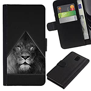 Planetar® Modelo colorido cuero carpeta tirón caso cubierta piel Holster Funda protección Para SAMSUNG Galaxy Note 3 III / N9000 / N9005 ( Triangle Majestic Lion B & W )