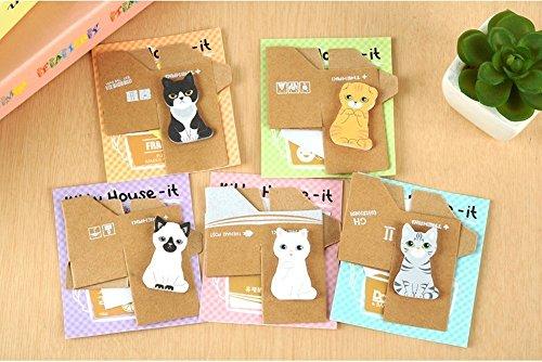Yosoo Cartoon Cats Sticky Notes, Pack of 5