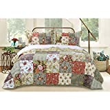3 Piece Oversized Green Purple Patchwork Bedspread Queen Set, Quilted French Country Damask Floral Rustic Flowers Pattern Prairie Themed Farmhouse Charm Cottage Oversize To The Floor Checked, Cotton
