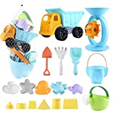 Biulotter 20Pcs Kids Beach Sand Toys Set Sand Water Wheel, Castle Molds, Truck...