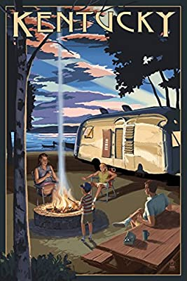 Kentucky - Retro Camper and Lake (16x24 Collectible Giclee Gallery Print, Wall Decor Travel Poster)