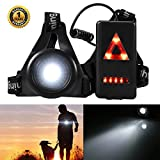 ProGreen Outdoor Night Running Lights LED Chest Light Back Warning Lignt with Rechargeable Battery for Camping, Hiking, Running, Jogging, Outdoor Adventure