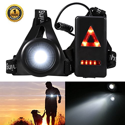 ALOVECO Outdoor Night Running Lights LED Chest Light Back Warning Lignt with Rechargeable Battery for Camping, Hiking, Running, Jogging, Outdoor Adventure by ALOVECO