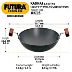 Hawkins Futura Hard Anodised Deep-Fry Pan / Kadhai (Round Bottom), Capacity 1.5 Litre, Diameter 22 cm, Thickness 3.25 mm…