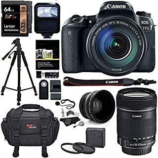 Canon EOS 77D Camera EF-S 18-135 is USM Kit, Lexar 64GB U3 Memory Card, Wide Angle Auxiliary Lens, Filter Kit, Ritz SLR Camera Bag and Accessory Bundle