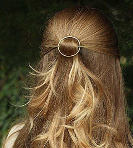(FDesigner Vintage Alloy Golden Circle Hair Clip for Women and Girls on any Occasion (Gold))