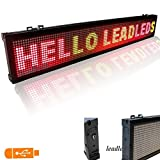 Leadleds USB LED Sign 30 X 6.3-in Programmable 3 Color Display Open Message Sign Board