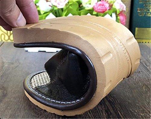 casa Suelo casa Mujer de de Piel Masculina Mujeres Zapatillas de de Lino Roja Zapatillas Las Amantes de Verano TELLW Oveja Interior Madera de Fondo Antideslizante Suave Cool de PFzqq7w4