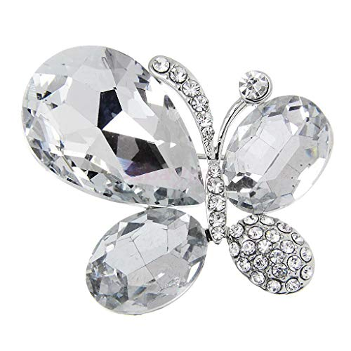 Fashion Crystal Butterfly Brooch Pin Jewelry Accessories (Color - White)