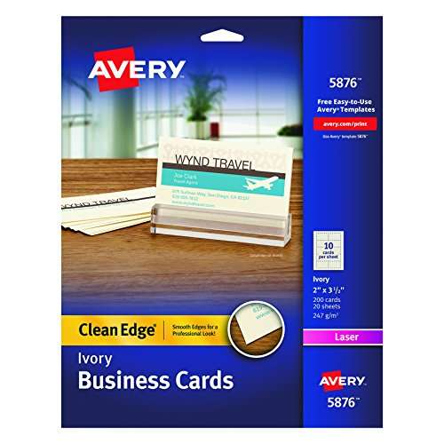 Avery 5876 Two-Side Printable Clean Edge® Business Cards for Laser Printers Ivory, Pack of 200 (Business Card Printing)