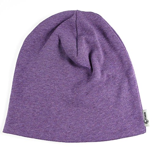 CHARM Organic Beanie Boys Cap - Slouchy Cotton Kids Warm Knit Hat Young Girls Purple