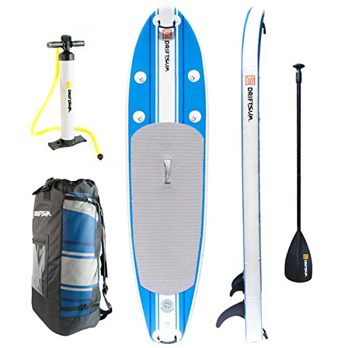 Driftsun SUP Inflatable 10-Foot Stand-Up Paddle-Board Package. Includes Board, Fins, Paddle, Pump and Carry Backpack