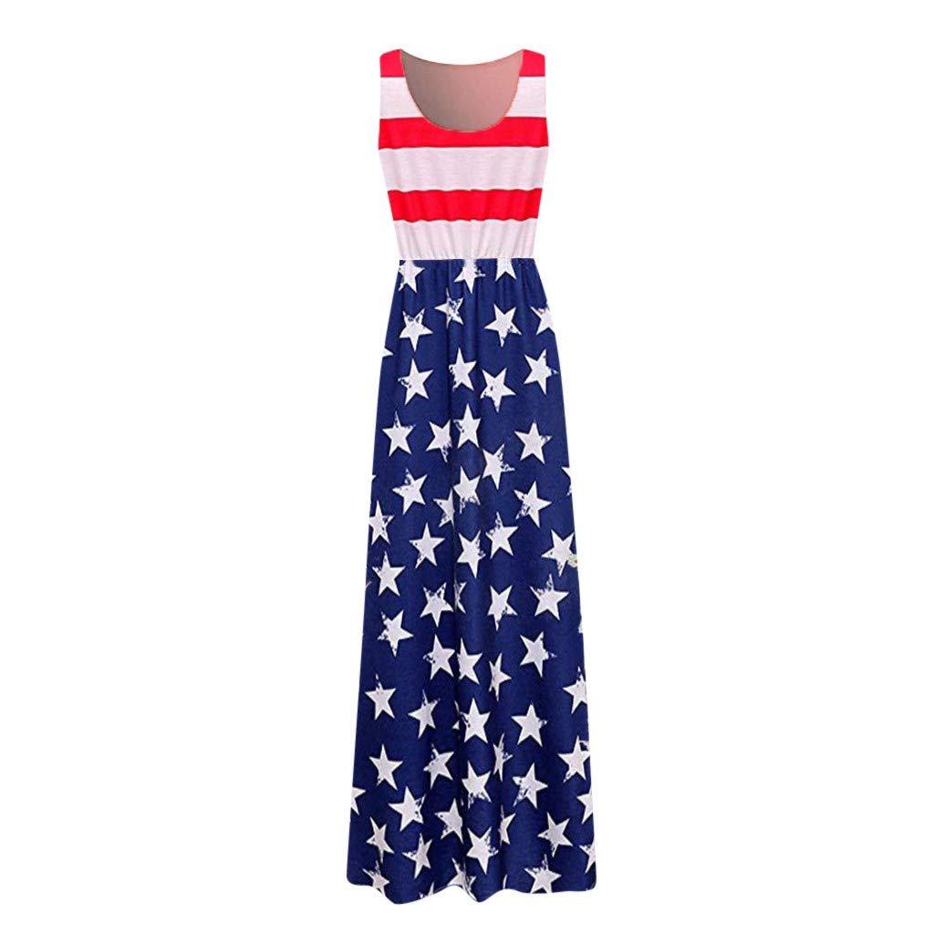 27c60ec26807 Amazon.com: MILIMIEYIK Blouse July 4th Women Casual Swing Mini Sundress American  Flag Summer Beach Tank Dress L: Clothing