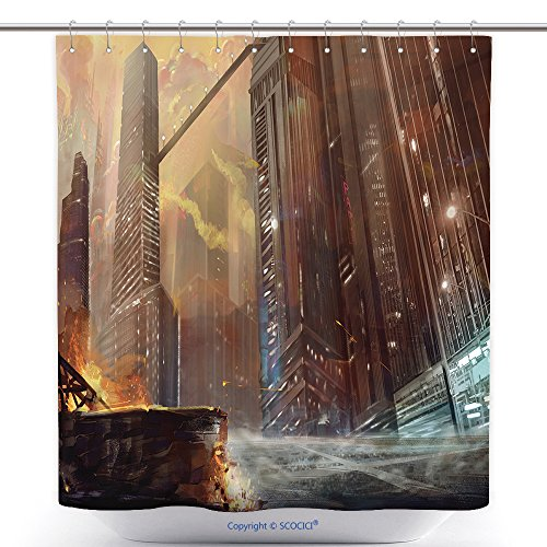 Spiderman Costume Design Scene (Mildew Resistant Shower Curtains Illustration The City After War Realistic Style Scene Wallpaper Design 298075430 Polyester Bathroom Shower Curtain Set With Hooks)