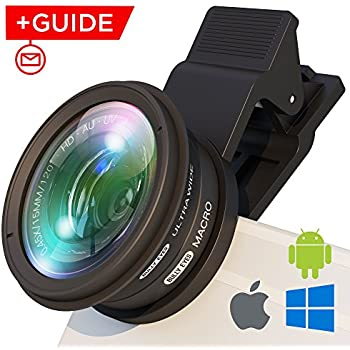 iPhone Lens Attachment: Professional Wide Angle and Macro Lens w/UV Filter. Easy Clip Fisheye Lens Fits Samsung/iPhone/Huawei - Universal Cell Phone Camera Lens Clip For Photo/Video + FREE Guide