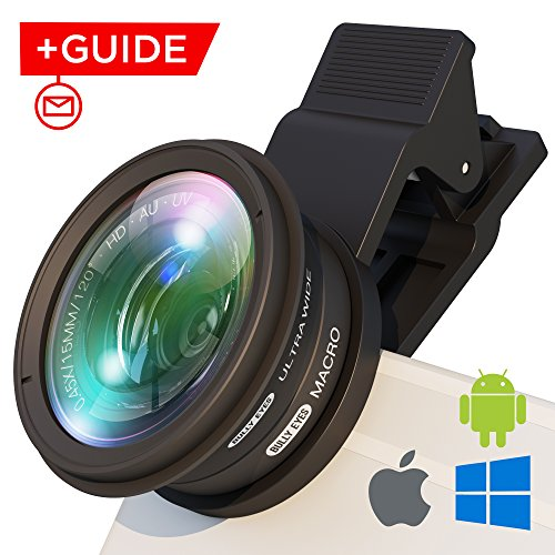 iPhone Lens Attachment: Professional Wide Angle and Macro Lens w/UV Filter. Easy Clip Fisheye Lens Fits Samsung/iPhone/Huawei - Universal Cell Phone Camera Lens Clip For Photo/Video + FREE - Add To Frames Lenses