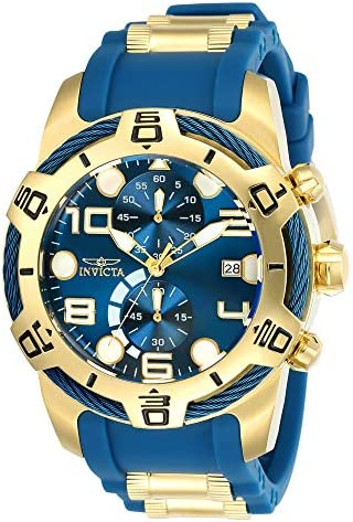 Invicta Men's Bolt 50mm Stainless Steel and Silicone Chronograph Quartz Watch, Blue/Gold (Model: 24217) WeeklyReviewer