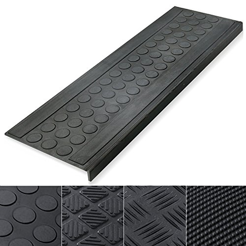 - Indoor & Outdoor Bullnose Rubber Non-Slip Stair Treads, 10