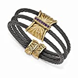 Top 10 Jewelry Gift Edward Mirell Titanium & Bronze Amethyst Cable Cuff Bangle