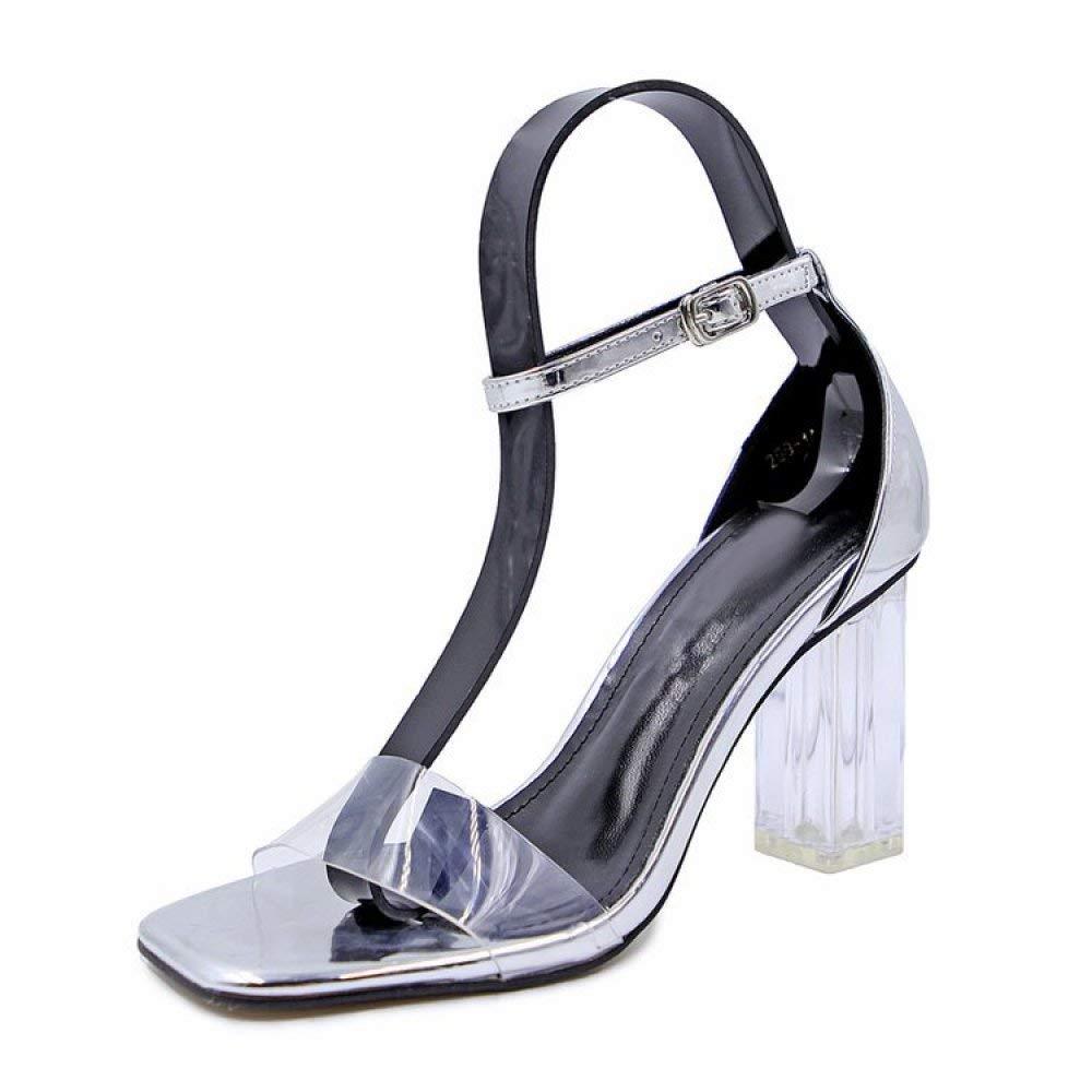 Sommerfrauen Runde Offene Zehe-Sandelholze - Art und Weise Reizvolle Transparente Absatz-Sandelholze Kristall mit Starken Ferse-Schuhen (Farbe   Silber Größe   36)