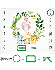 Baby Monthly Milestone Blanket, JUSONEY Unisex Infant Newborn Photography Backdrop Photo Prop, Large 120cm x 130cm 1 to 12 with Weeks and Months Flannel Fleece Best
