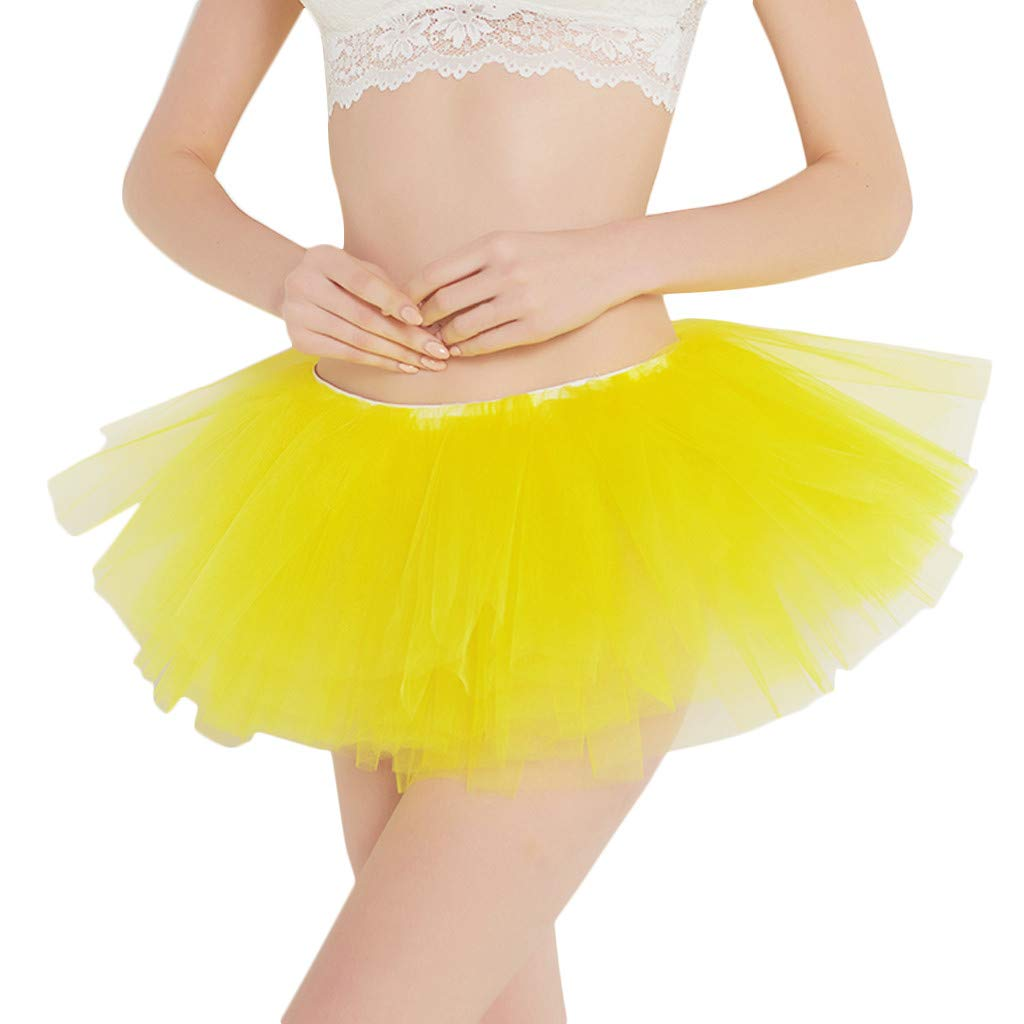 UOFOCO Pleated Gauze Short Skirt Women Adult Tutu Dancing Skirt Yellow