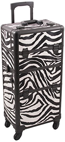 Hiker HK6501 4-Wheel 2-in-1 Rolling Makeup Case with Easy-Slide and Extendable Trays, Includes Removable Tray and Extra Lid, 31-Inch, Zebra Texture