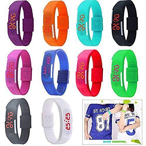 Yunanwa 10 Pack Wholesale Silicone Rubber Gel Jelly Unisex LED Wrist Watch Bracelet Men -