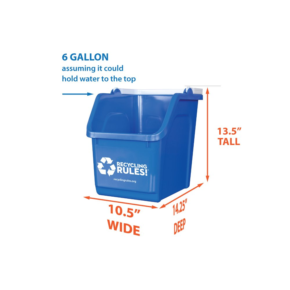 3 Pack of Bins - Blue Stackable Recycling