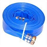"Eagleflo Eagle PVC Discharge Hose Assembly, Blue, 3"" Male X Female Water Shanks, 70 Psi Maximum Pressure, 3"" Hose ID, 50' Length"