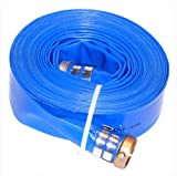 JGB Enterprises A008-0326-1650 Eagle Hose Eagleflo Eagle PVC Discharge Hose Assembly, Blue, 2'' Male X Female Water Shanks , 85 PSI Maximum Pressure, 2'' Hose ID, 50' Length