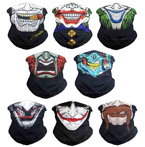 Eytan 8 Pcs Different Skull & Clown Outdoors Face Mask Headwear - Wear As Sports Headband Tube Skeleton Joker Face Shield, Multifunctional Seamless Bandana