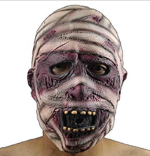WeiYun Scary Injured Monster Mask Lifelike,Walking Horror Ghost Devil Evil Mask with Bandage,Ugly Toothy Mask Cosplay Costume Fancy Party Favors for Halloween,Movie Props Green Latex Blame Mask,1Pcs for $<!--$7.59-->