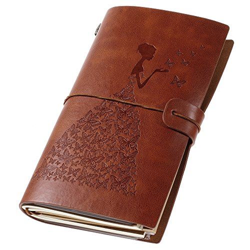 - Leather Journal, Vintage Refillable Travelers Notebook with Line Paper+ 1 PVC Zipper Pocket +18 Card Holder Back to School for Women 4.7 X 7.9in (Brown)