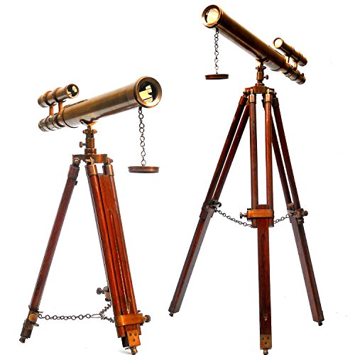 Floor Standing 18″ Brown Antique Telescope With Tripod Stand