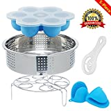 6 inch pressure cooker basket - Instant Pot Accessories Set with Steamer Baske, Egg Steamer Rack, Baby Food Freezer Tray Silicone Egg Bites Mold, Egg Separator, 1 Pair Silicone Cooking Pot Mitts Fits 5,6,8 qt Pressure Cooker 5 Pack