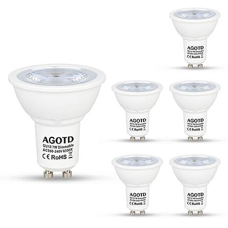 AGOTD Regulable Bombillas LED Gu10 7w, Lampara de Led GU10, Blanco Frío 6500K, 560Lm, Lampara halogenos Equivalentes a 50 Watt, Casquillos Led gu 10, ...