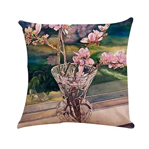 Littay Flower Oil Painting Pattern Series Household Car Sofa Upholstery Linen Pillowcas 17.72