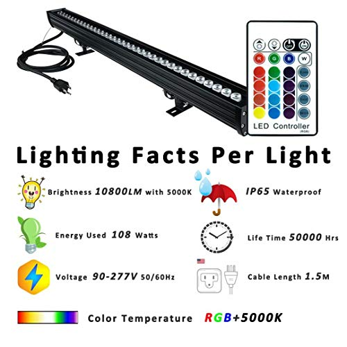 Wall Washer LED Lights, 108W RGBW Color Changing LED Strip Lights with RF Remote,120V, 3.2ft/40''Linear RGB LED Lights Bar for Outdoor/Indoor Lighting Projects Carnival Party Stage Casinos Bar Decor by YRXC (Image #1)