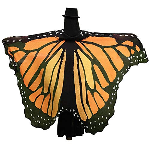 GRACIN Halloween Monarch Butterfly Wings Shawl Fairy Pixie Costume Cape (78