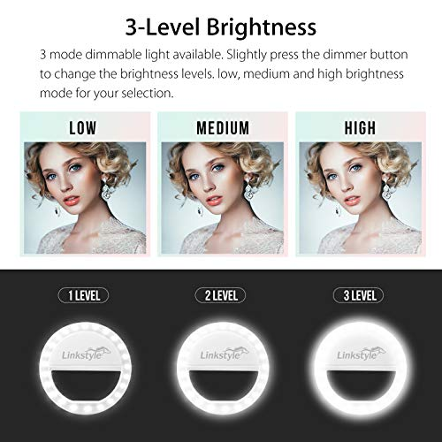 Selfie Ring Light Rechargeable, 36 LED Dimmable Clip on Selfie Light Portable for iPhone iPad Android Camera Phtography Video Make up White (1 Pack) by LinkStyle (Image #2)