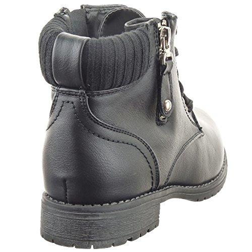 Sopily - Zapatillas de Moda Botines Botas militares Cavalier Low boots A medio muslo mujer Cremallera Talón Tacón ancho 2.5 CM - plantilla textil - Negro