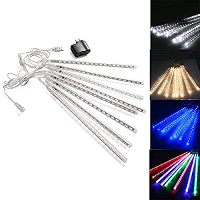 AGPtek? Waterproof 8 Tube Warm white Holiday Meteor Shower Rain Lights String for Indoor Outdoor Gardens Homes Xmas Christimas party Weddings Decor Tree - 30cm/0.98ft 144 LED