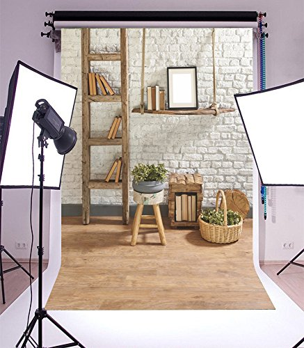 Photography Backdrop Interior Wood Shelf Stairs Ladder Abstract Bookcase Green Plants Basket Whitewashed Brick Rustic Wooden Floor Spring Photo Background Children Baby (Abstract Bookcase)